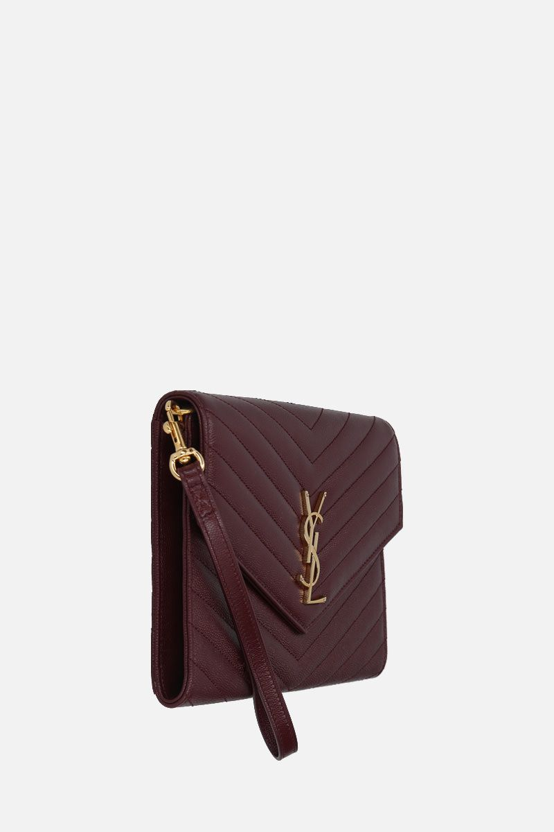 SAINT LAURENT: Monogram quilted leather clutch Color Red_2