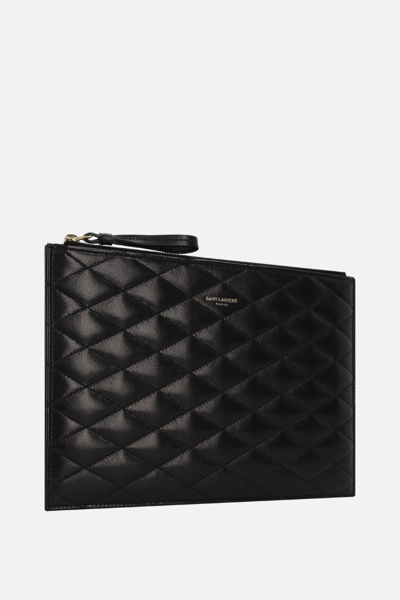 SAINT LAURENT: Sade quilted nappa pouch Color Black_2