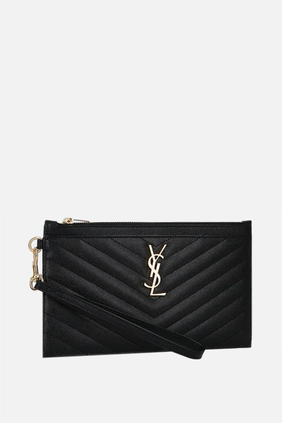 SAINT LAURENT: Monogram quilted leather pouch Color Black_2