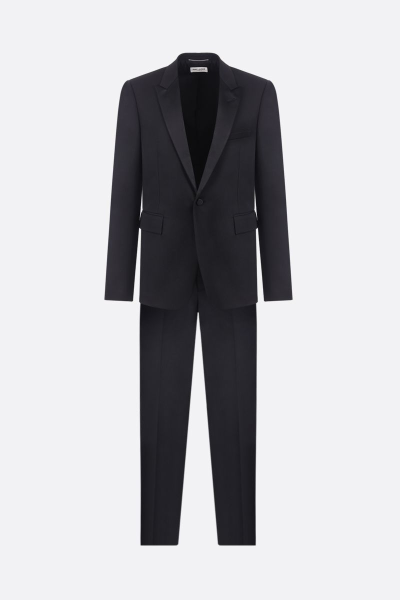 SAINT LAURENT: wool tuxedo suit with satin details Color Black_1