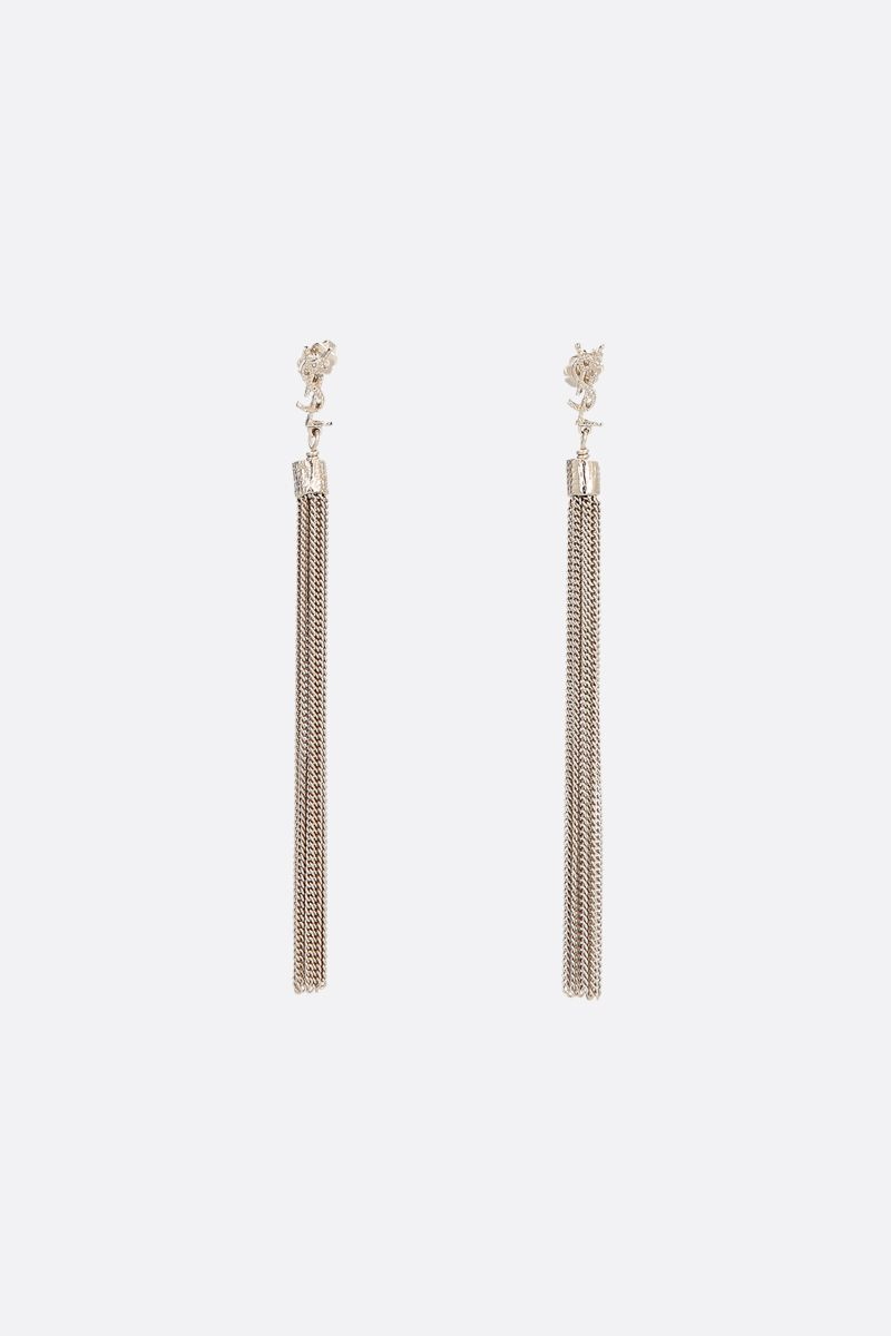 SAINT LAURENT: Loulou earrings with chain tassels Color Gold_1