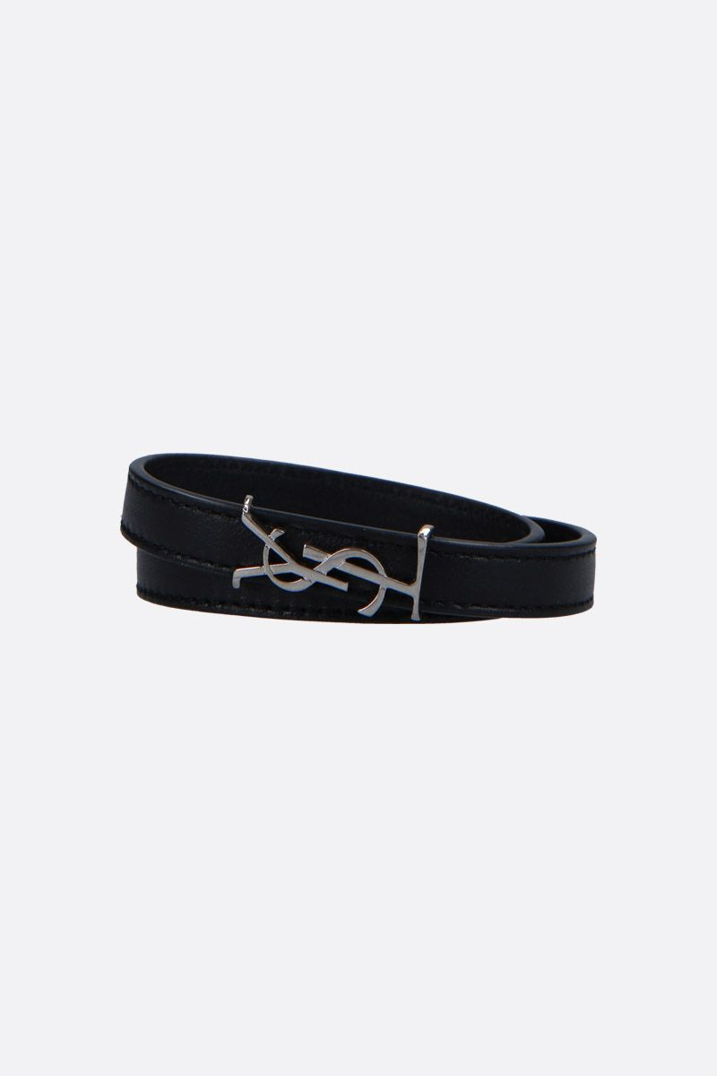 SAINT LAURENT: Opyum smooth leather double-wrap bracelet Color Black_1