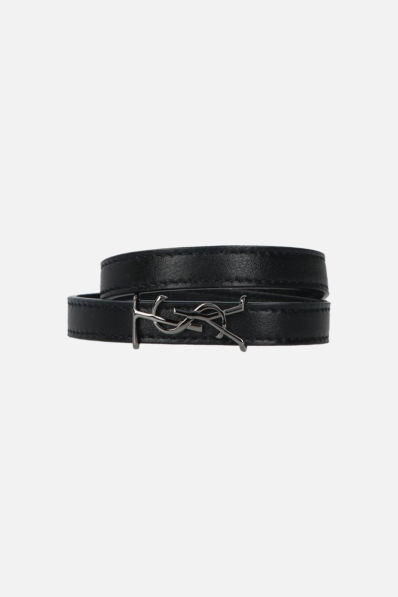 SAINT LAURENT: Opyum double-wrap bracelet in smooth leather Color Black_1