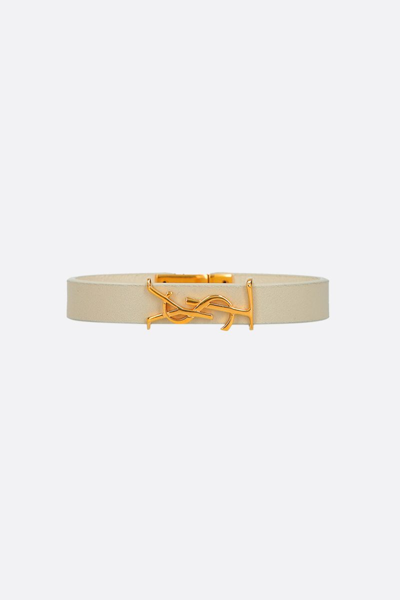 SAINT LAURENT: Opyum smooth leather bracelet Color Neutral_1