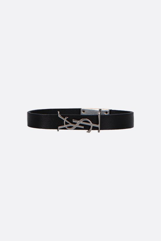SAINT LAURENT: Opyum smooth leather bracelet Color Black_1
