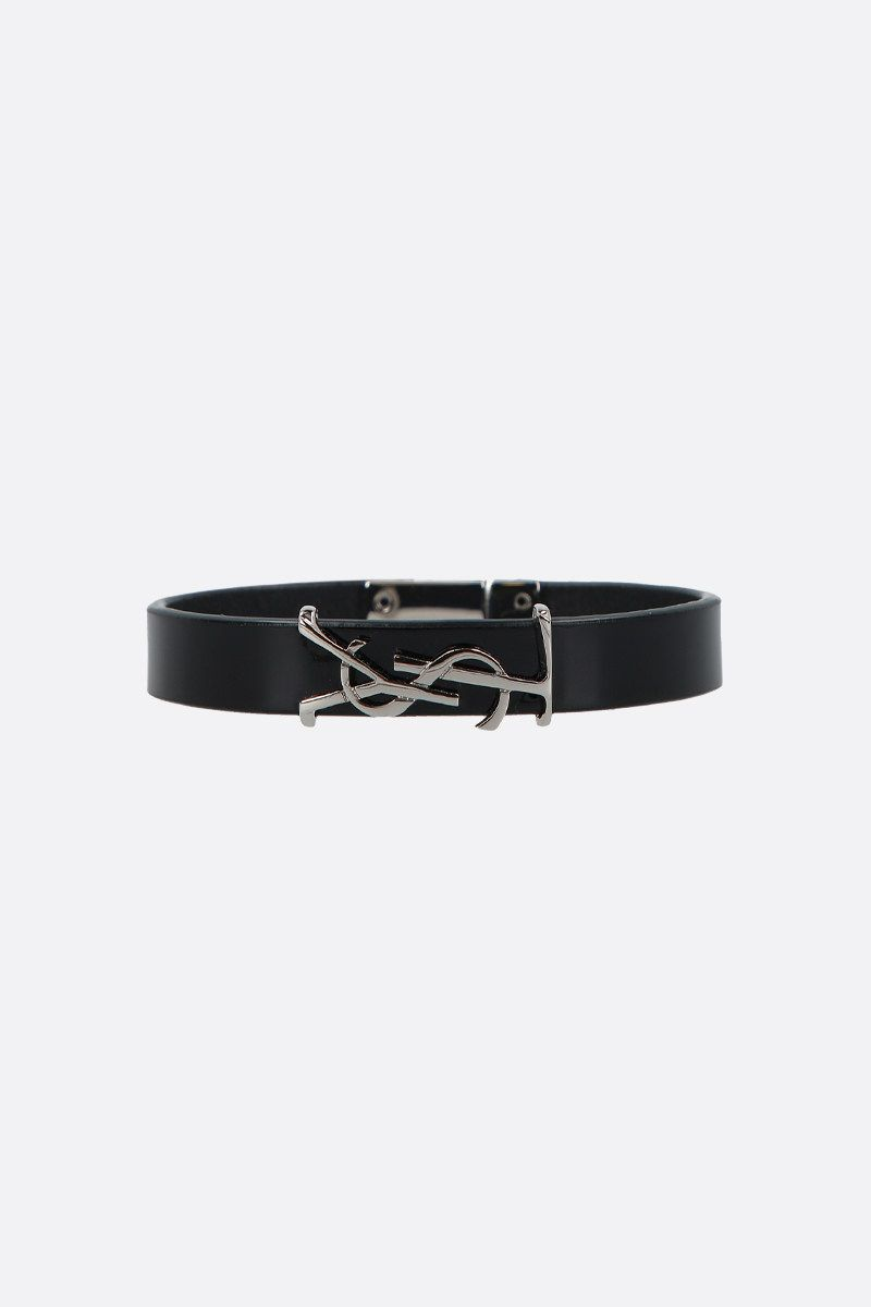 SAINT LAURENT: Opyum patent leather bracelet Color Black_1