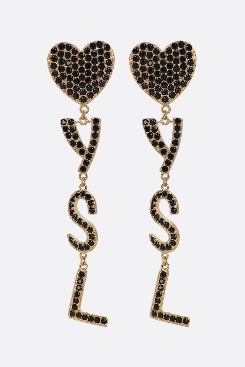 SAINT LAURENT: Opyum YSL heart metal and crystal earrings Color Black_1