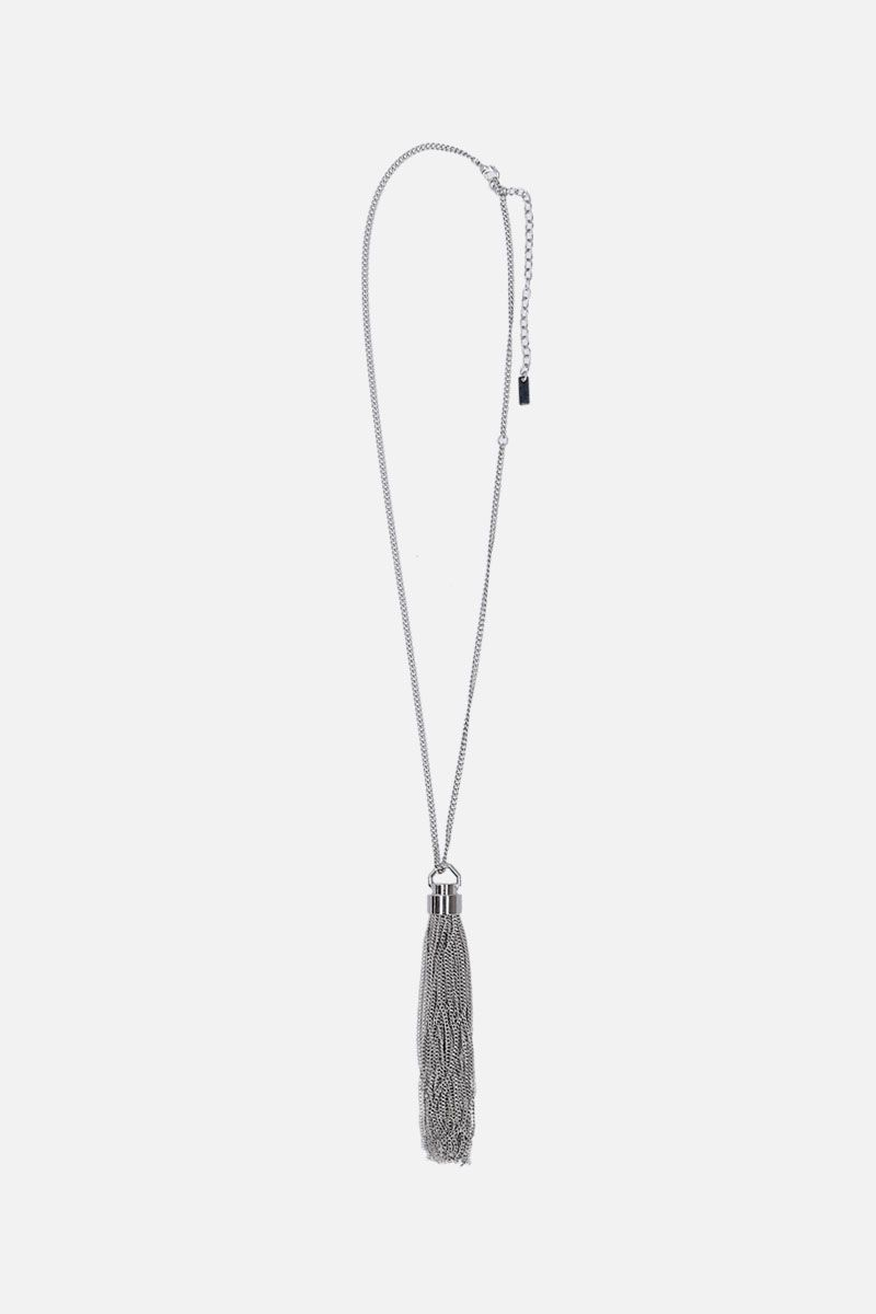 SAINT LAURENT: brass necklace with chain tassel Color Silver_1