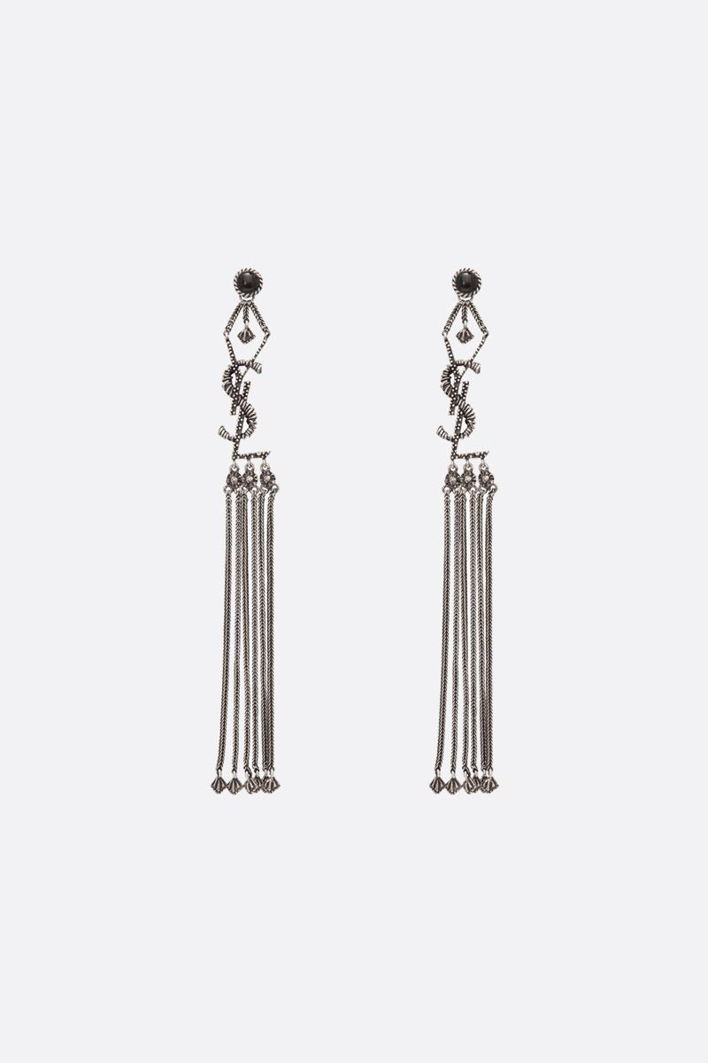 SAINT LAURENT: Monogram brass earrings Color Silver_1