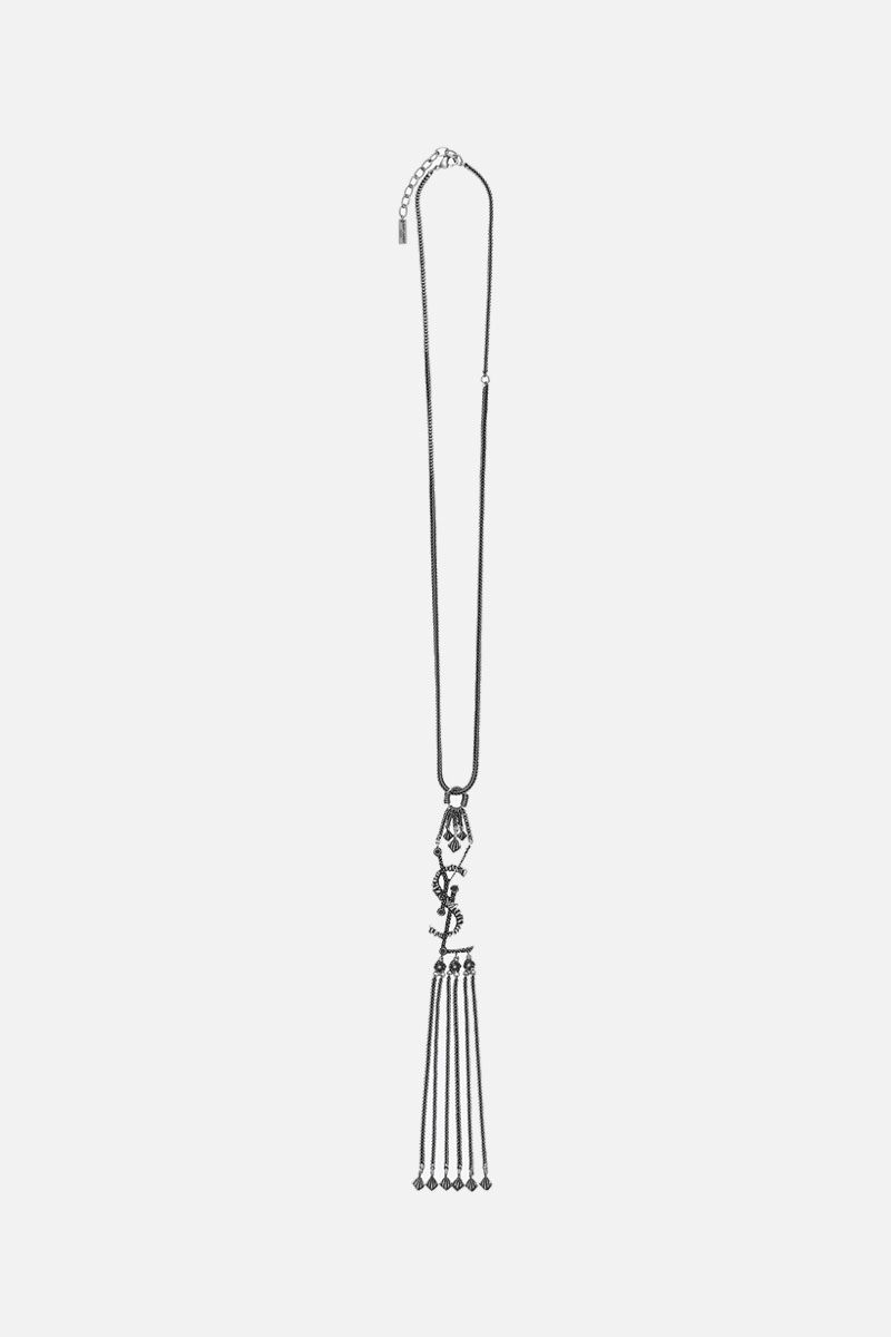 SAINT LAURENT: Monogram brass necklace Color Silver_1