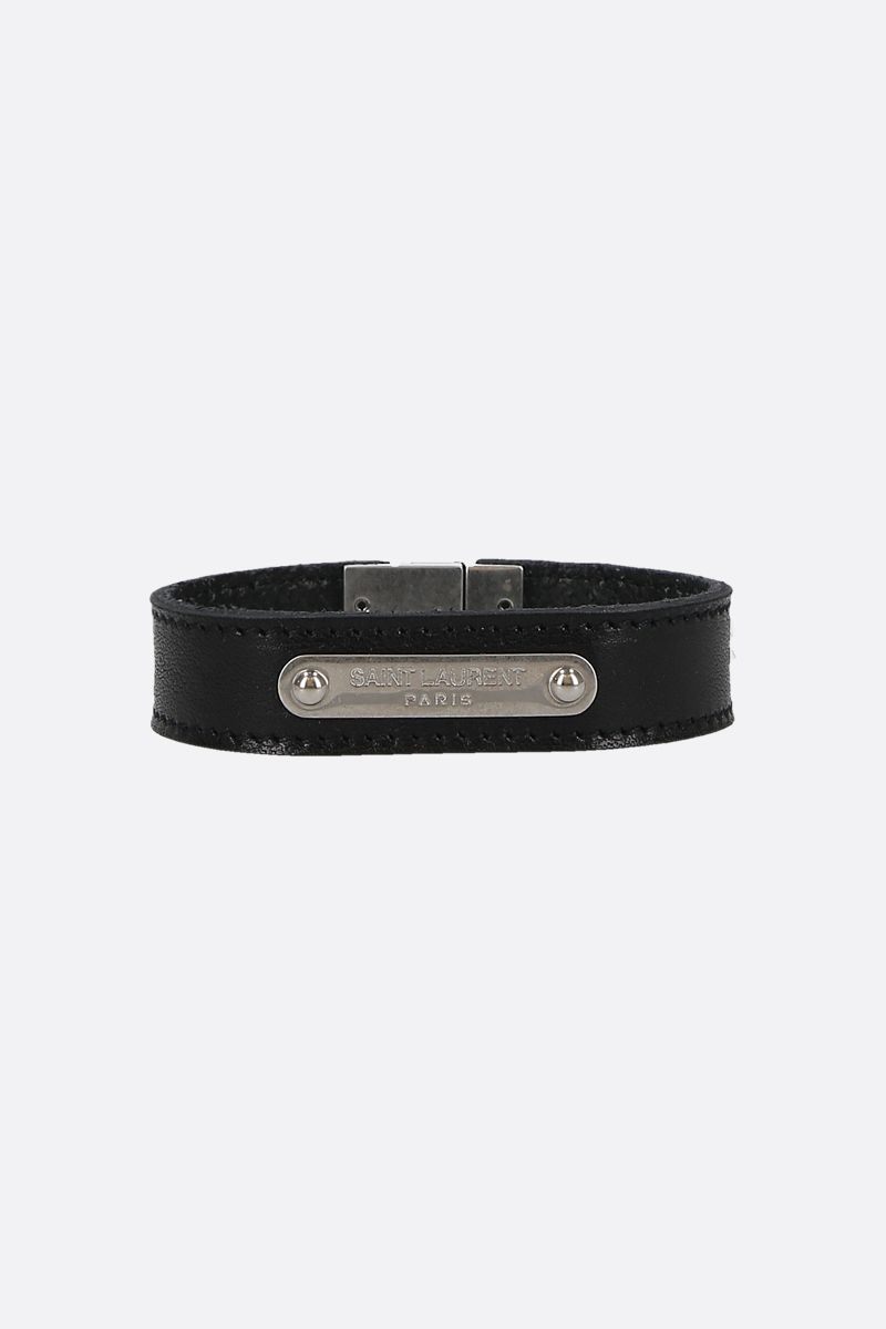 SAINT LAURENT: Saint Laurent ID smooth leather bracelet Color Black_1