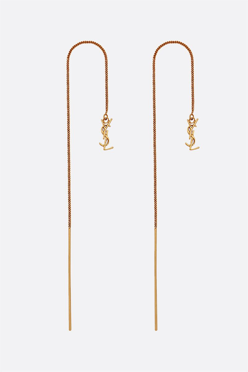 SAINT LAURENT: Opyum YSL brass threader earrings Color Gold_1