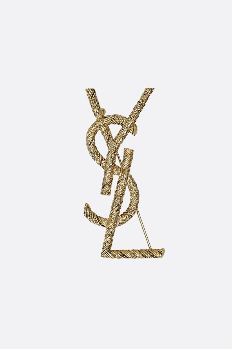 SAINT LAURENT: YSL Corde Marine brass broche Color Gold_1