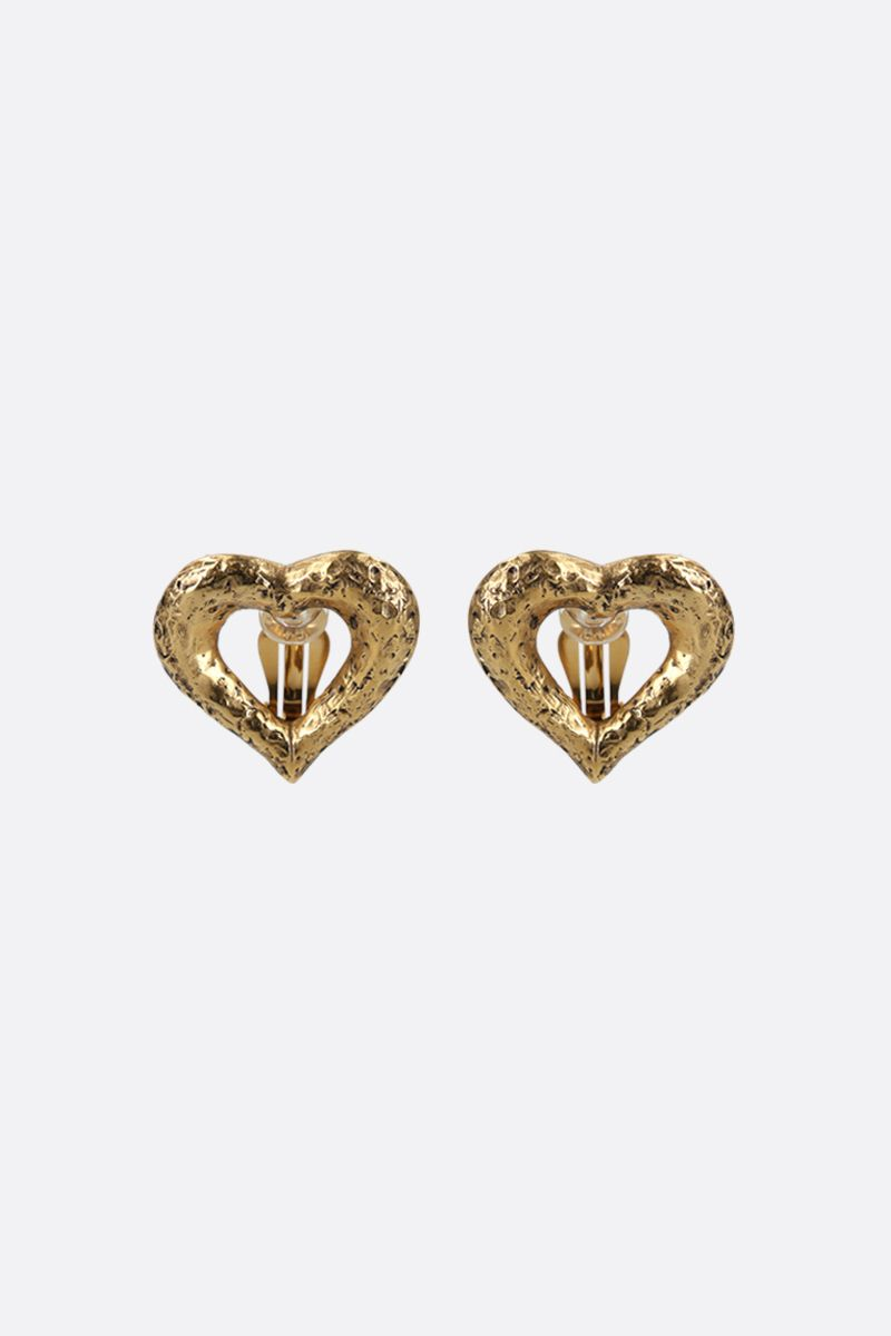 SAINT LAURENT: brass heart-shaped earrings Color Gold_1