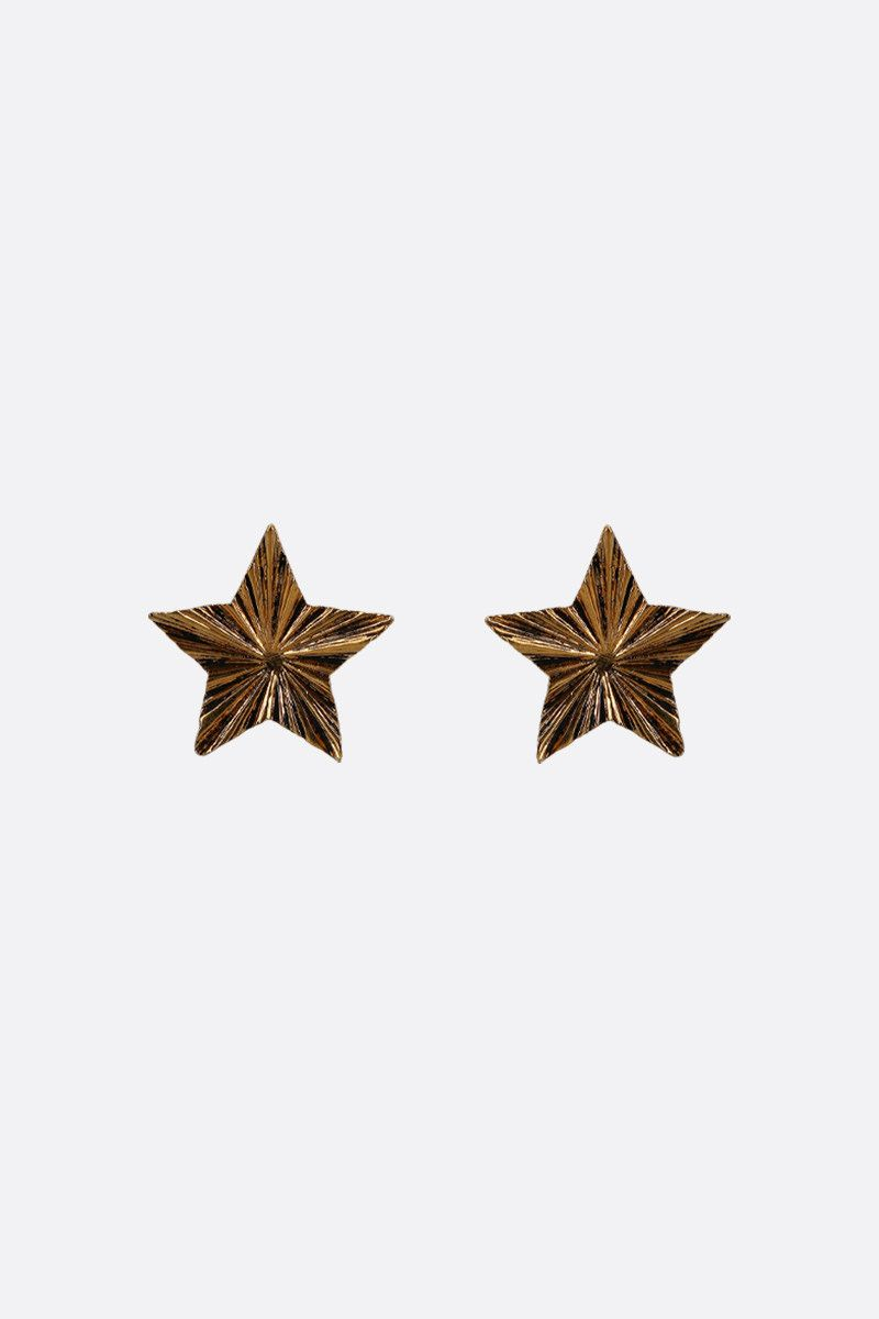 SAINT LAURENT: brass star-shaped earrings Color Gold_1