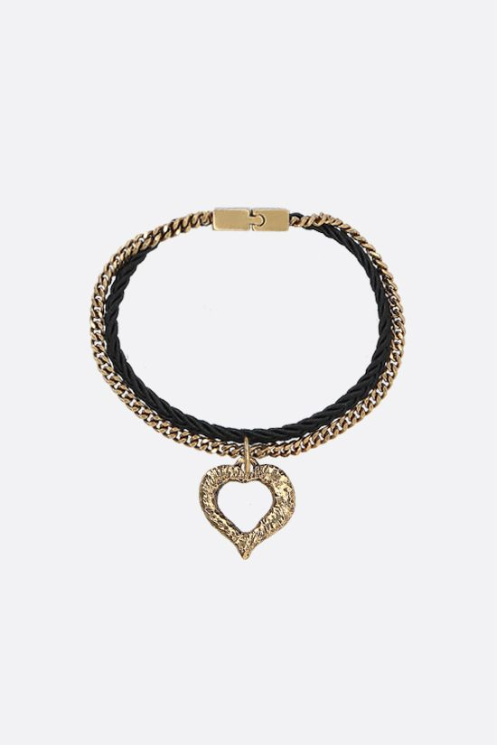 SAINT LAURENT: heart charm-detailed brass and fabric chain bracelet Color Black_1