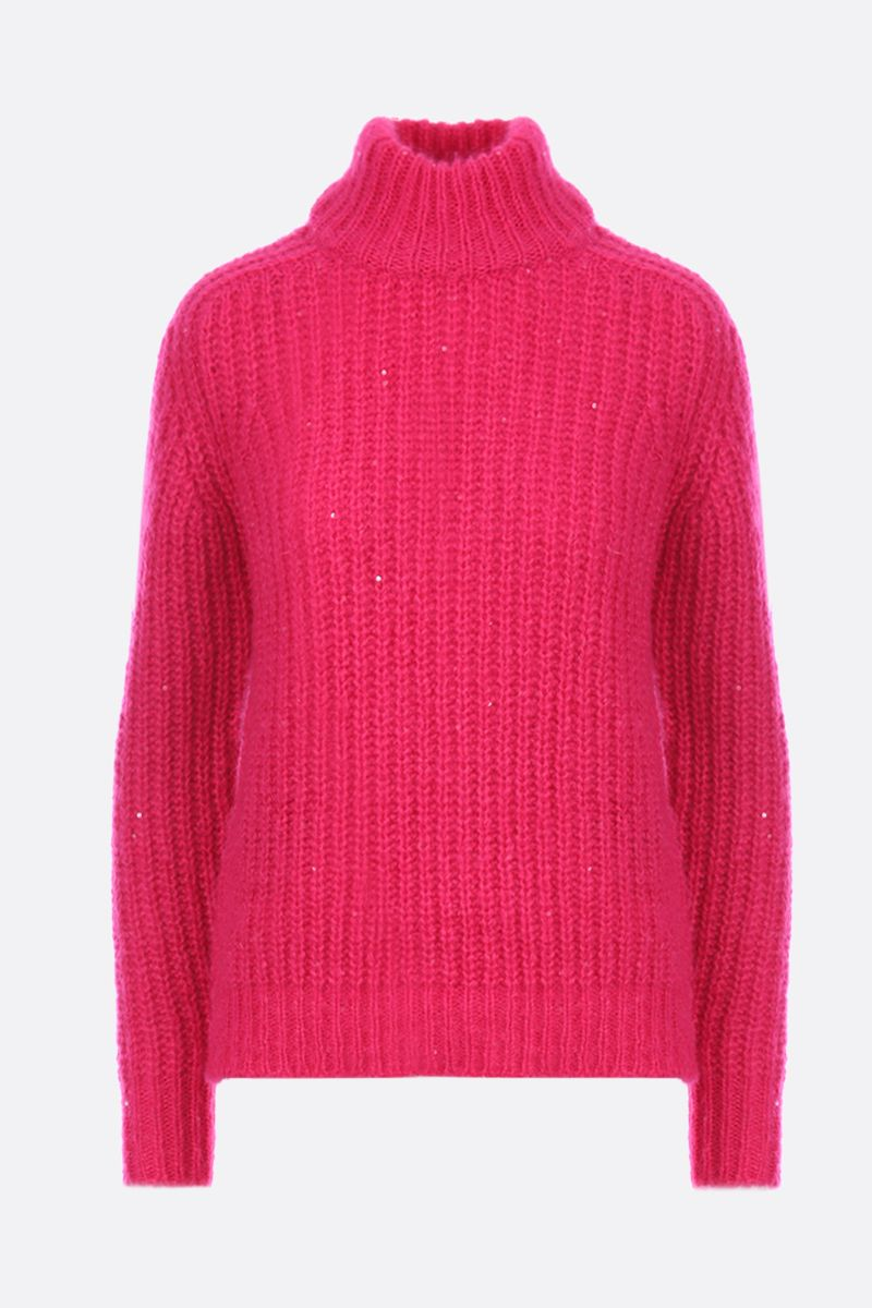 SAINT LAURENT: sequin detailed wool blend pullover Color Pink_1