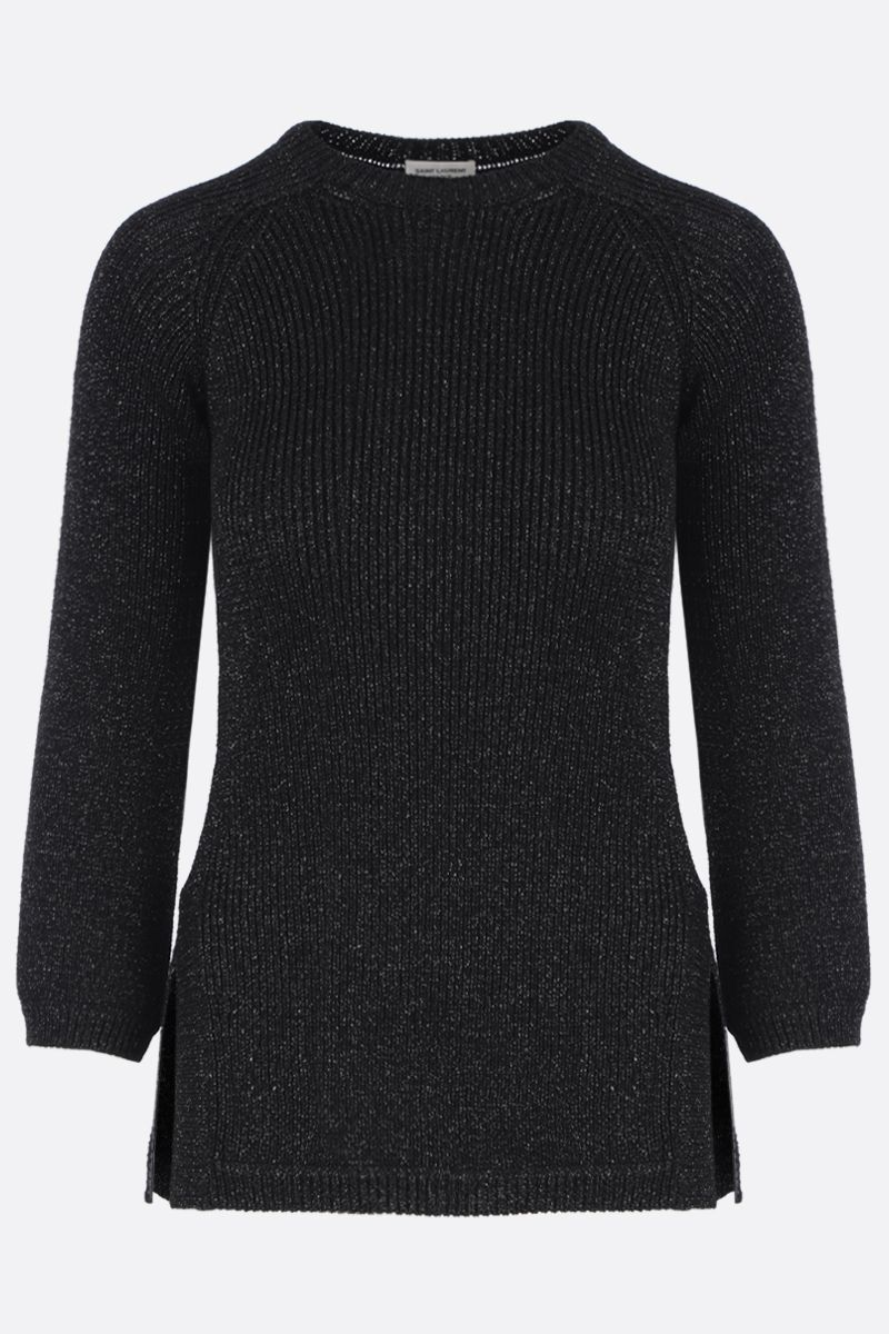 SAINT LAURENT: lurex blend rib-knit pullover Color Black_1