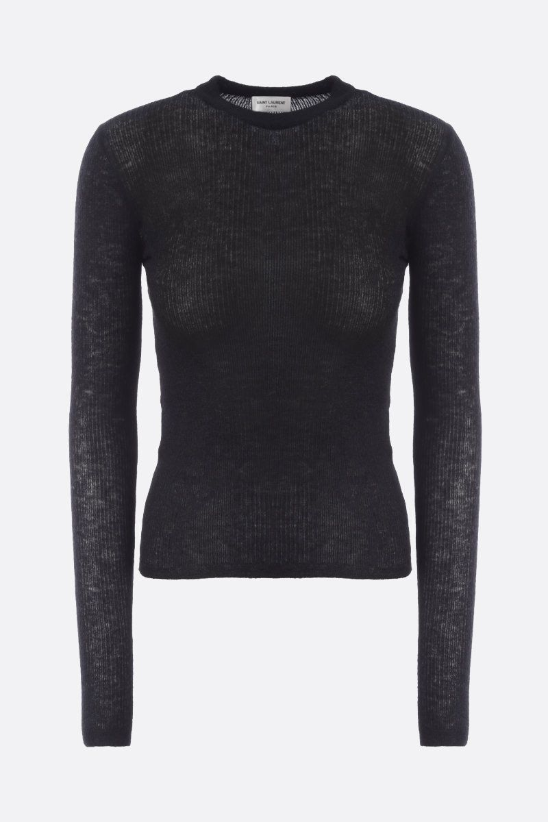 SAINT LAURENT: ribbed mohair blend pullover Color Black_1