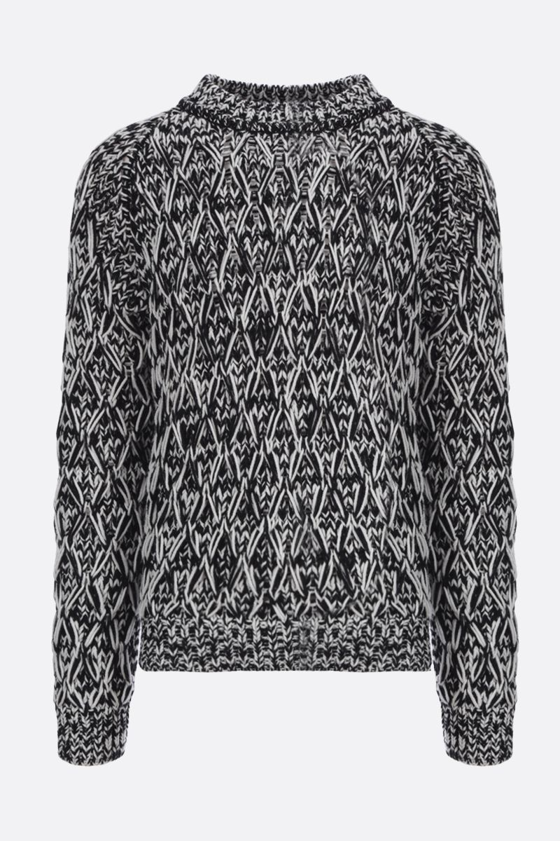 SAINT LAURENT: rhombus knitted wool pullover Color White_1