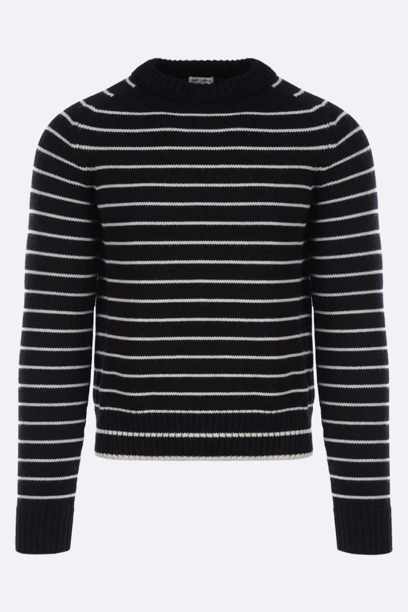 SAINT LAURENT: pullover in lana a righe Colore Bianco_1
