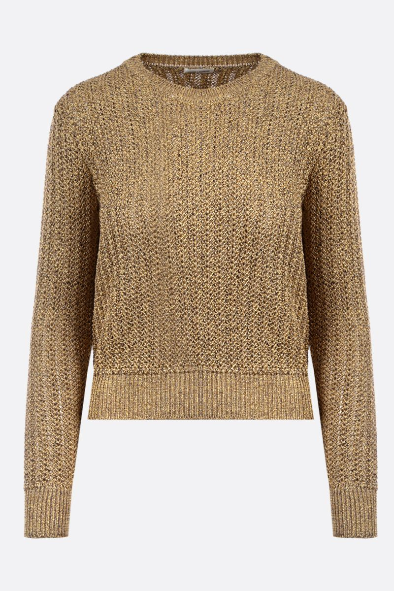 SAINT LAURENT: pullover in tweed lamè Colore Oro_1