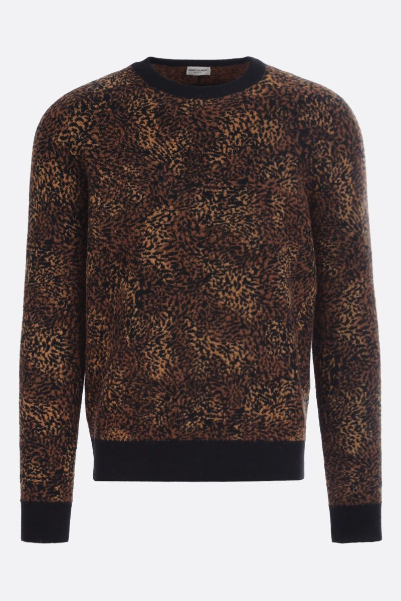 SAINT LAURENT: leopard-motif wool alpaca blend pullover Color Multicolor_1