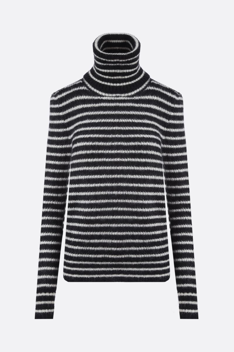 SAINT LAURENT: striped mohair blend turtleneck Color Black_1