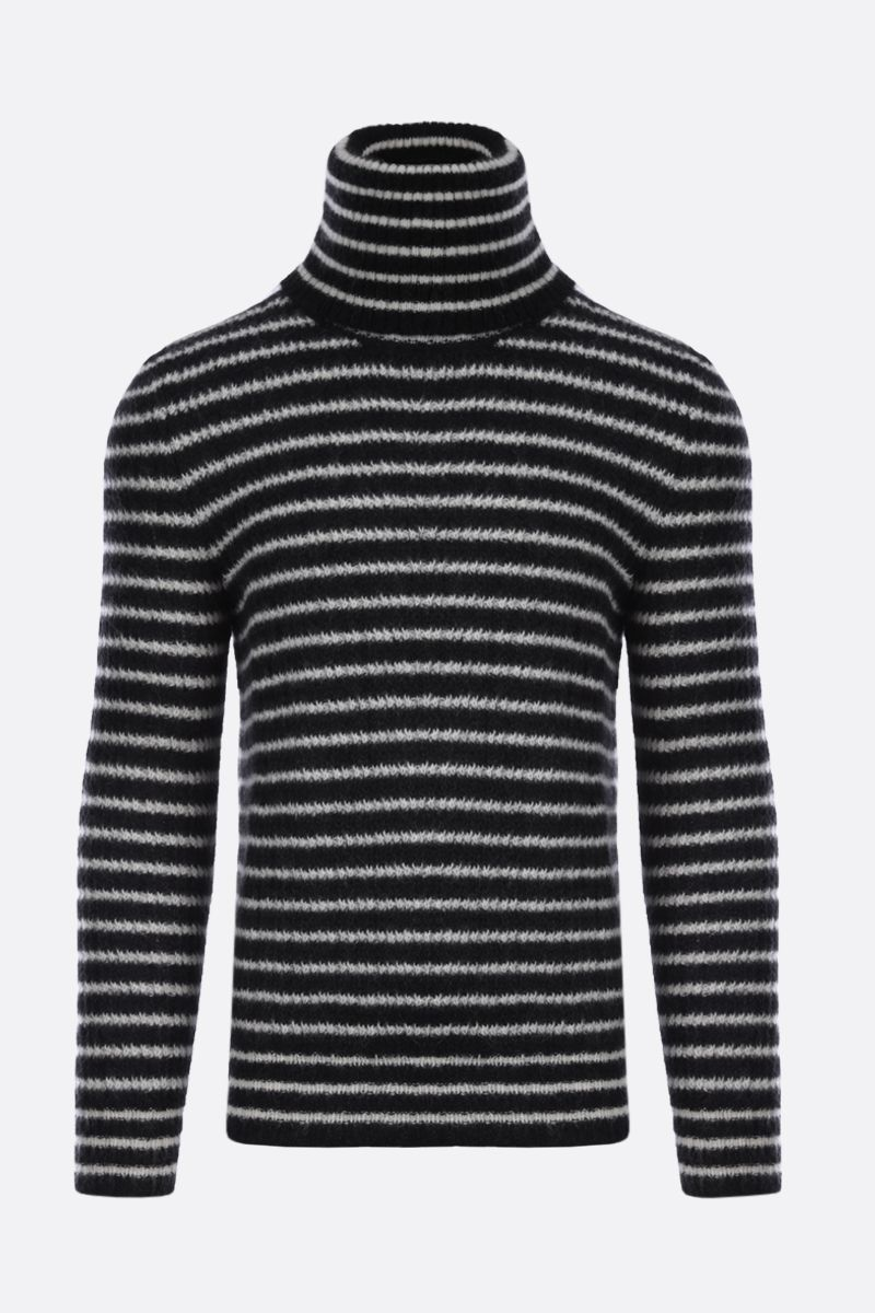 SAINT LAURENT: striped mohair blend turtleneck Color White_1
