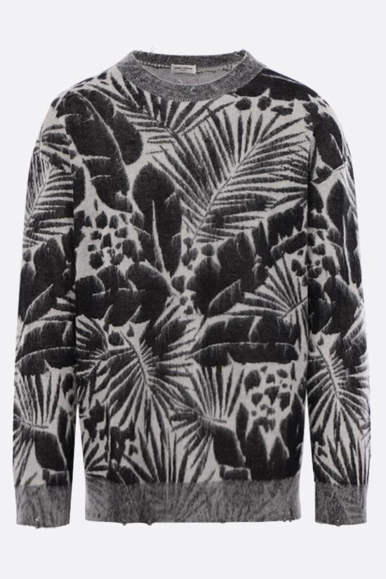SAINT LAURENT: tropical print linen wool blend pullover Color Black_1