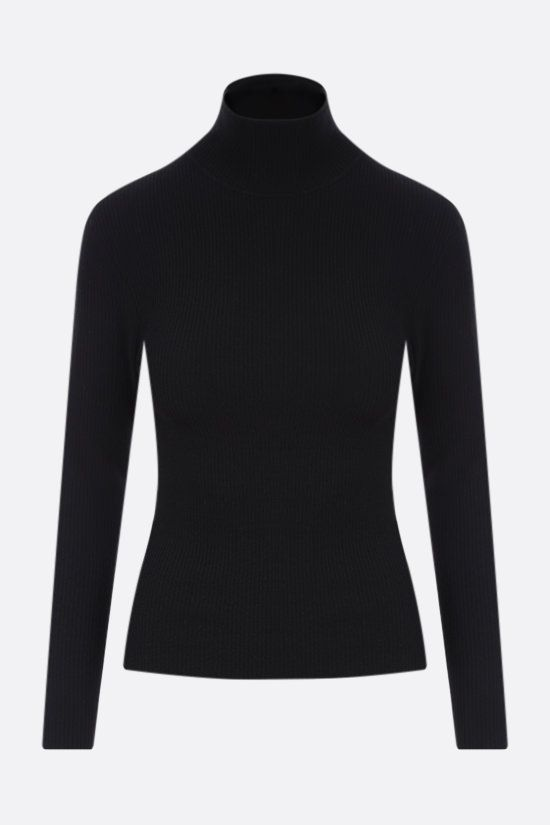 SAINT LAURENT: ribbed stretch wool pullover Color Black_1