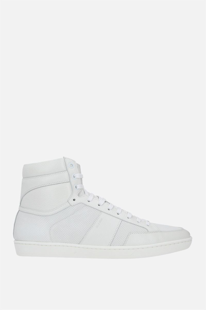 SAINT LAURENT: Signature Court SL/10H grainy and perforated leather high-top sneakers Color White_1