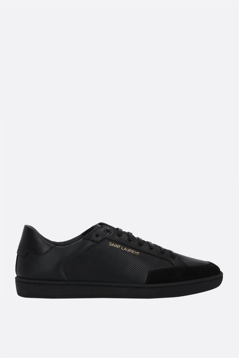 SAINT LAURENT: Court Classic SL/10 perforated leather and suede sneakers Color Black_1