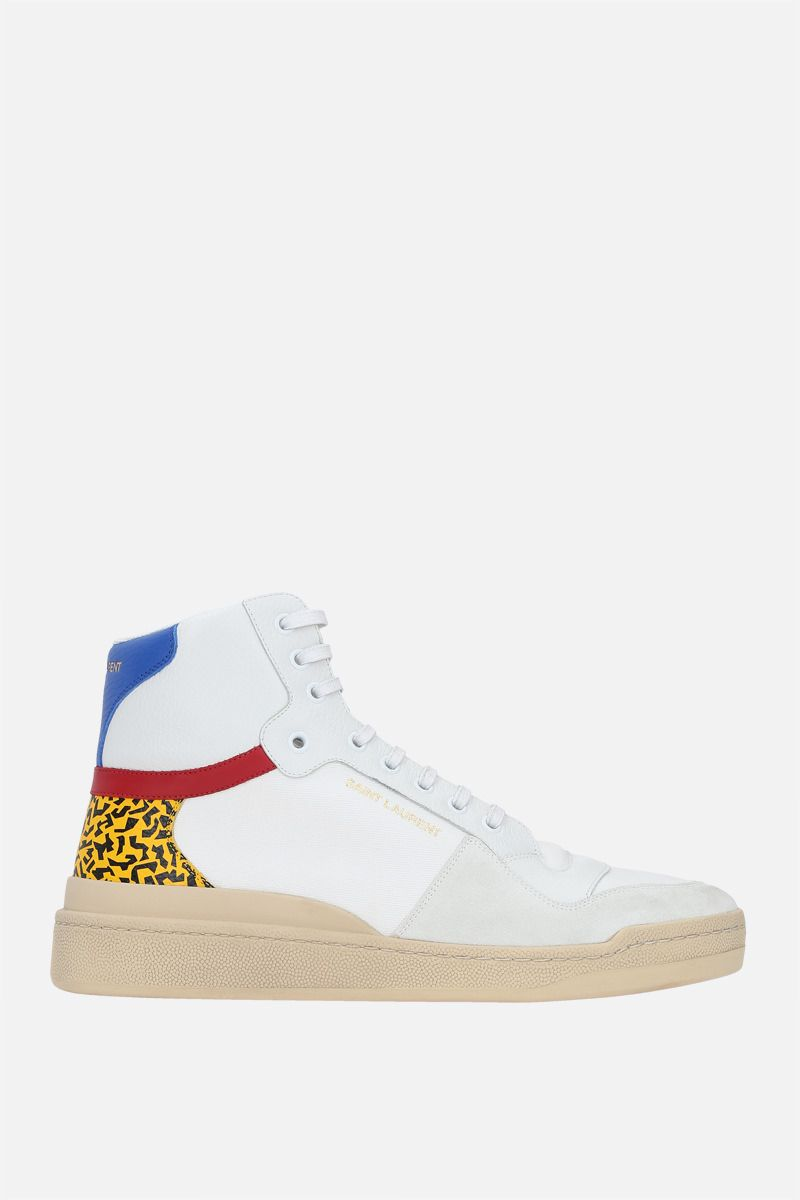 SAINT LAURENT: SL24 canvas and grainy leather mid-top sneakers Color White_1