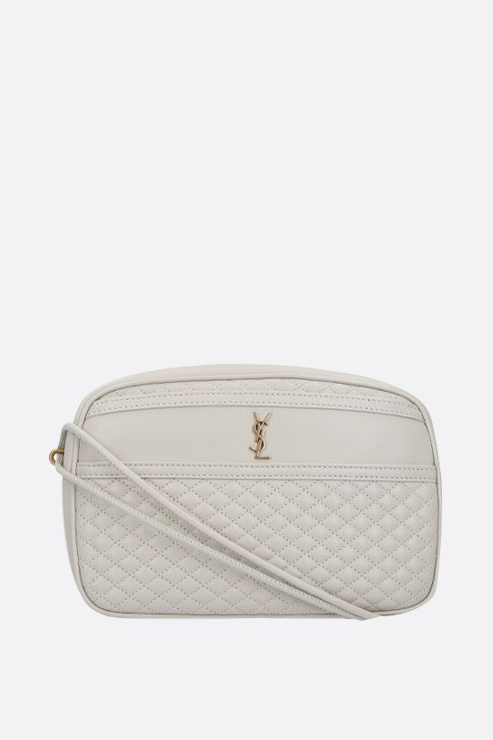 SAINT LAURENT: Victoire quilted nappa crossbody bag Color Neutral_1