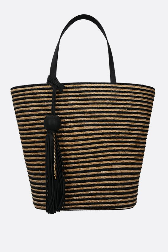 SAINT LAURENT: bicolor raffia tote bag Color Multicolor_1
