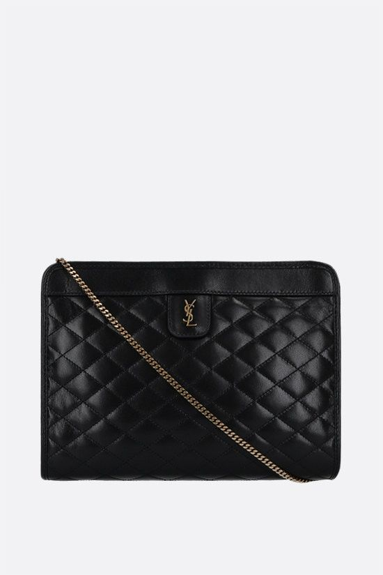 SAINT LAURENT: Victoire baby quilted nappa clutch Color Black_1