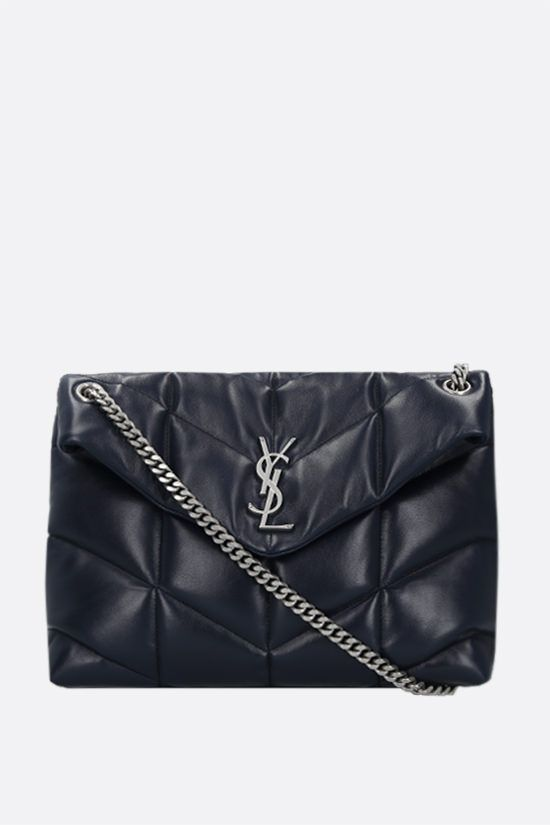 SAINT LAURENT: Loulou Puffer medium quilted nappa shoulder bag Color Blue_1