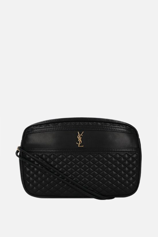SAINT LAURENT: Victoire quilted nappa crossbody bag Color Black_1