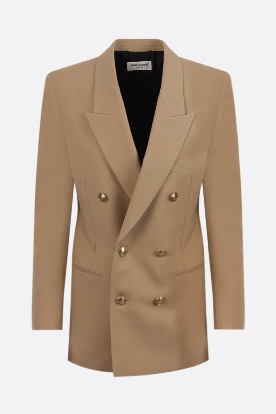 SAINT LAURENT: double-breasted wool gabardine jacket Color Neutral_1