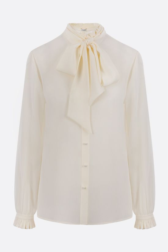 SAINT LAURENT: lavallière-detailed crepe de chine shirt Color Neutral_1