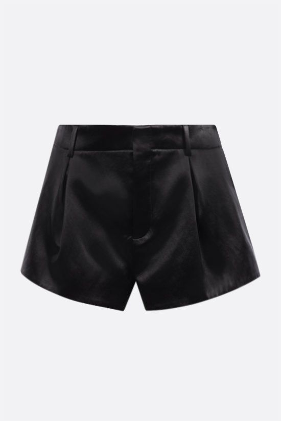 SAINT LAURENT: satin darted shorts Color Black_1