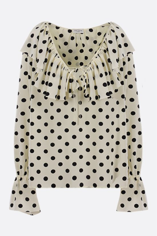 SAINT LAURENT: polka-dot printed silk blouse Color White_1