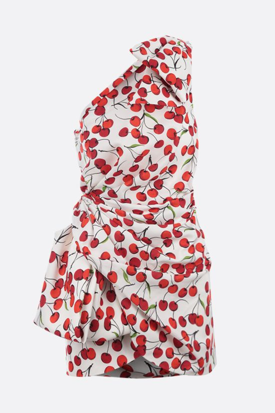 SAINT LAURENT: cherry print sablè one-shoulder minidress Color White_1