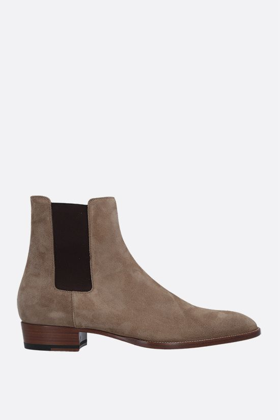 SAINT LAURENT: Wyatt suede chelsea boots Color Brown_1