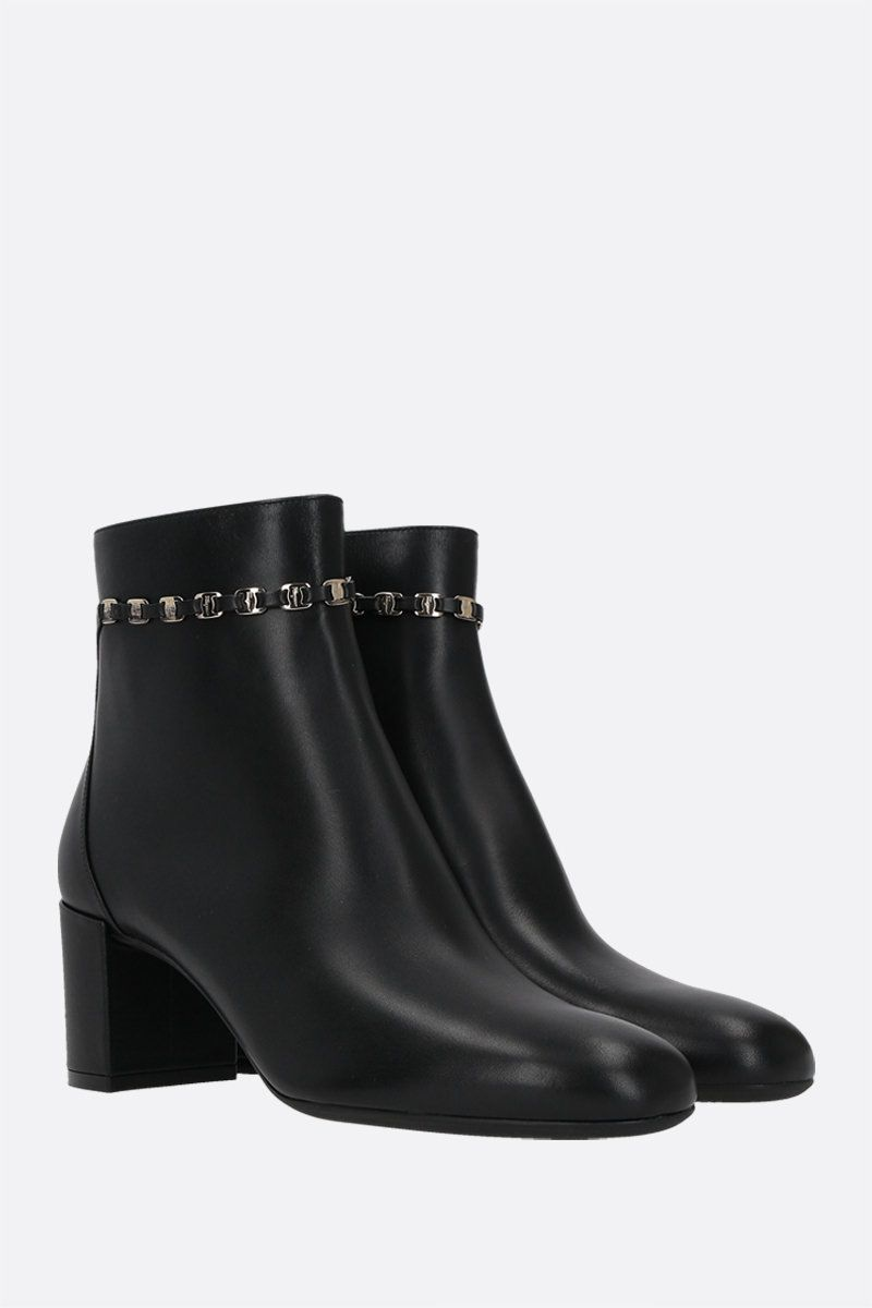SALVATORE FERRAGAMO: Ghila smooth leather ankle boots Color Black_2