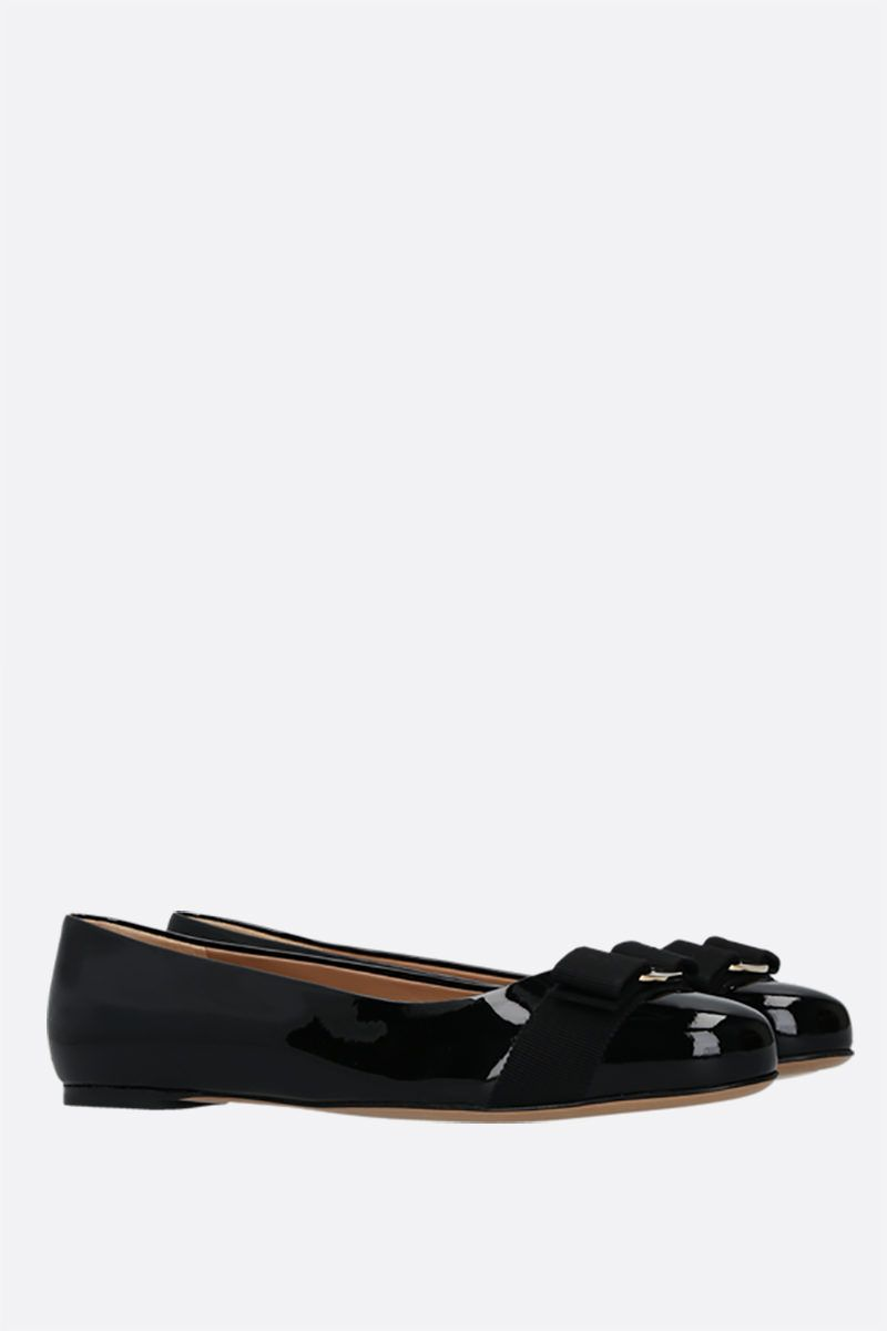 SALVATORE FERRAGAMO: Varina patent leather ballerinas Color Black_2