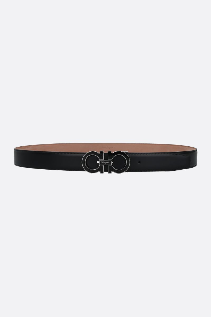 SALVATORE FERRAGAMO: Gancini smooth leather belt Color Black_1