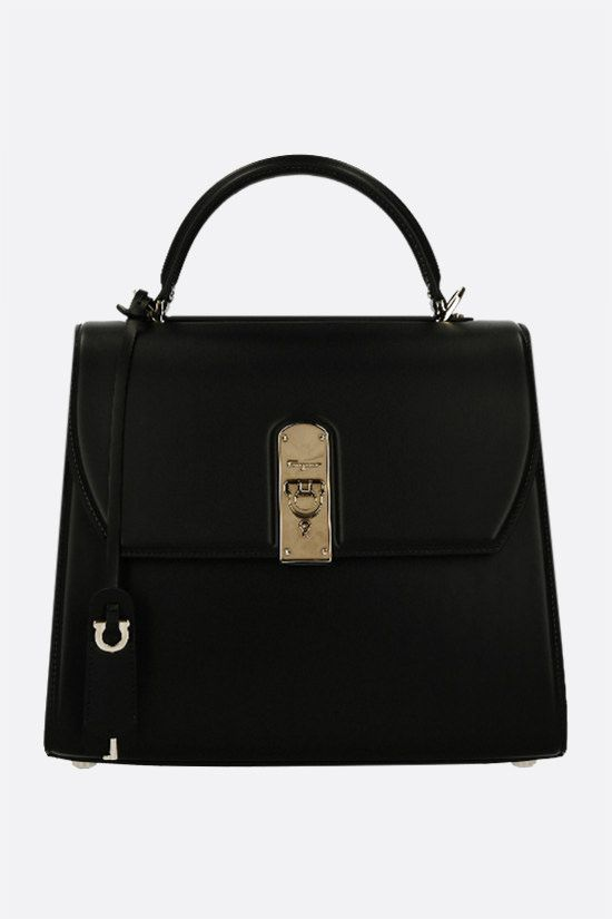 SALVATORE FERRAGAMO: Boxyz large smooth leather handbag Color Black_1