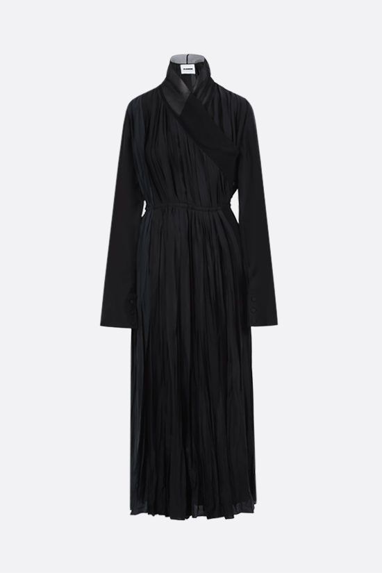 JIL SANDER: pleated twill long wrap dress Color Black_1